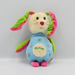 Doudou lapin bleu rose vert fleurs Flower FIZZY