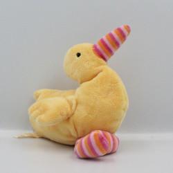 Doudou oiseau canard jaune rayé rose orange EGMONT TOYS