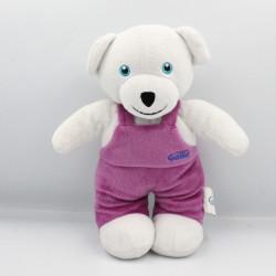 Doudou ours blanc salopette rose GALLIA