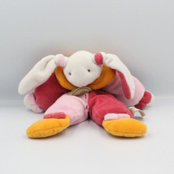 Doudou pantin lapin rose orange blanc BABY NAT