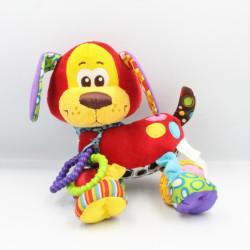 Doudou éveil chien rouge jaune bleu vert violet OUATOO