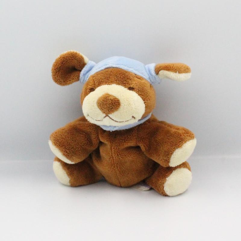 Doudou chien marron bonnet bleu NOUKIE'S