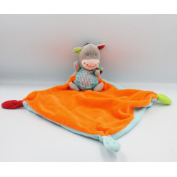 Doudou plat ane cheval gris bleu orange vert OUATOO BABY