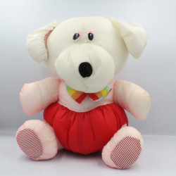Peluche Puffalump chien rose rouge blanc