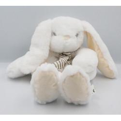 Doudou range pyjama lapin blanc écharpe rayé beige EDL