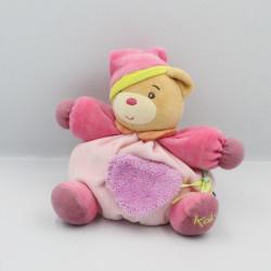 Doudou ours rose vert coeur POP KALOO