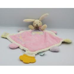 Doudou plat lapin rose jaune mauve Super Doudou BABY NAT
