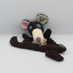 Doudou plat souris rat marron beige Ratos BABY DEGLINGOS