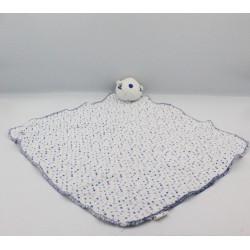 Doudou plat marmotte blanc bleu pois URIAGE