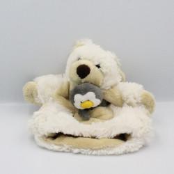 Doudou plat marionnette ours blanc beige pingouin HISTOIRE D'OURS