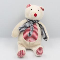 Doudou ours beige rayé rouge bleu TERRE DE MARINS