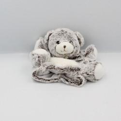 Doudou plat marionnette ours beige marron blanc Flocons BABY NAT
