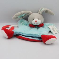 Doudou et compagnie marionnette lapin bleu rouge gris EUREKA KIDS