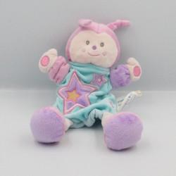 Doudou plat marionnette papillon rose mauve bleu KIMBALOO