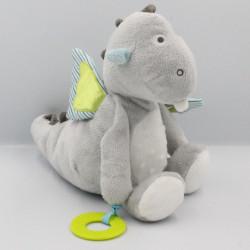 Doudou dragon gris bleu vert rayé OBAIBI
