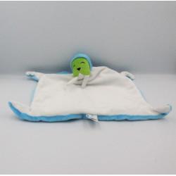 Doudou plat phoque morse blanc bleu vert BRIO
