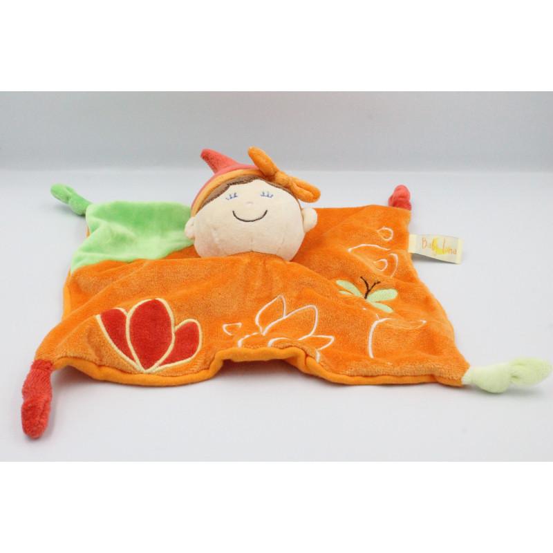 Doudou plat poupée lutin orange vert rouge BABY LUNA