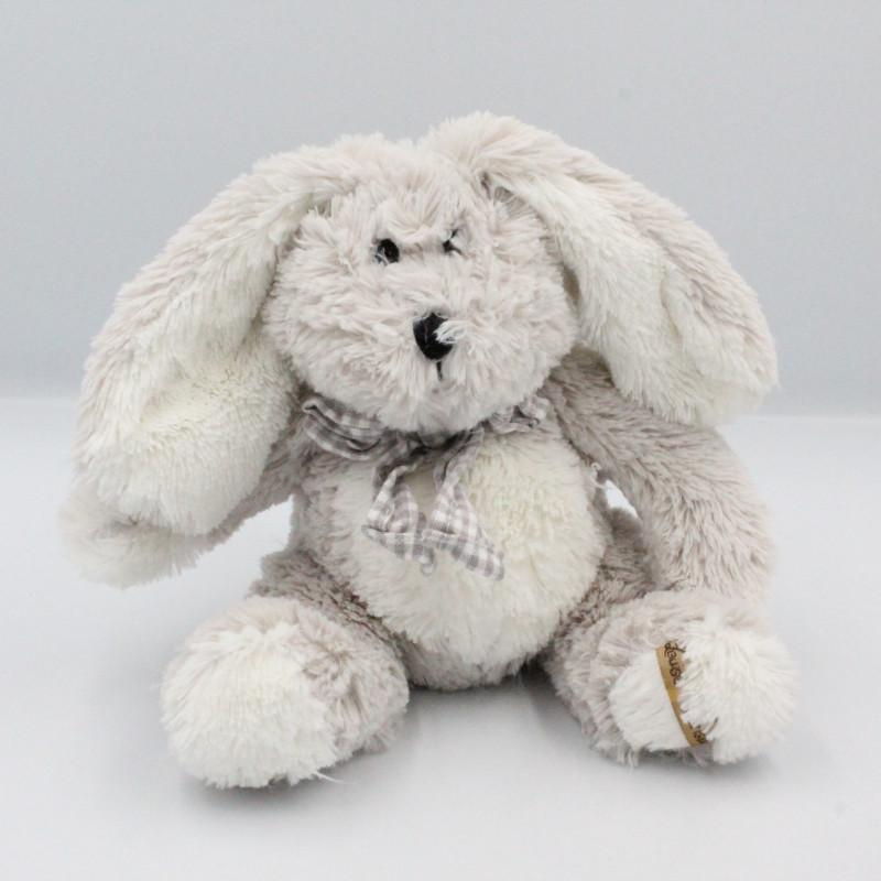 Peluche lapin gris blanc noeud vichy LOUISE MANSEN