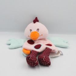 Doudou plat oiseau poule rose bleu bordeaux LATITUDE ENFANT