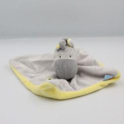 Doudou plat cheval zébre gris jaune SUCRE D'ORGE