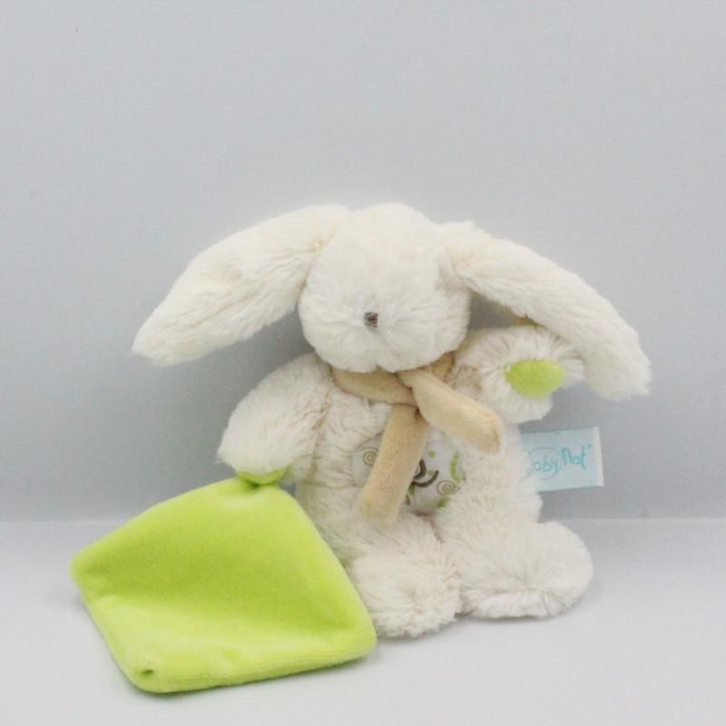 Doudou lapin blanc mouchoir vert BABY NAT