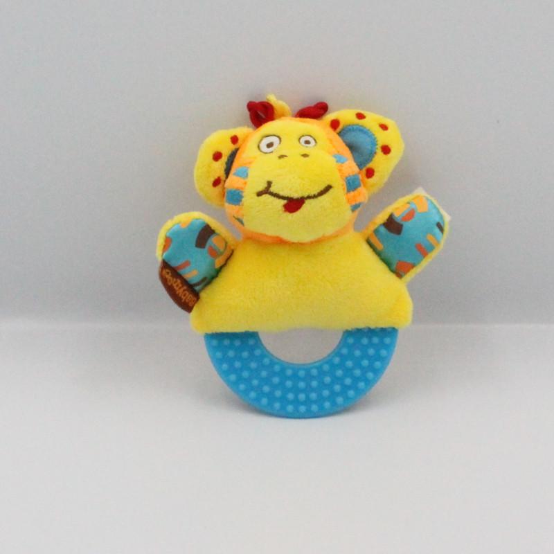 Doudou hochet singe orange bleu jaune BABYMOOV