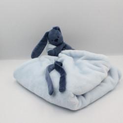 Doudou plat lapin bleu Lapidou couverture NATTOU