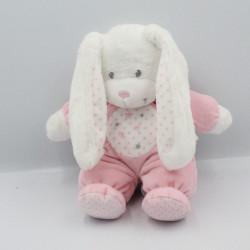 Doudou lapin blanc rose étoiles TEX BABY