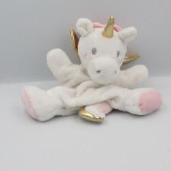 Doudou marionnette licorne blanc rose doré SIMBA TOYS NICOTOY