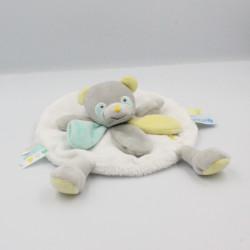Doudou et compagnie plat rond ours panda gris blanc bleu jaune Unicef