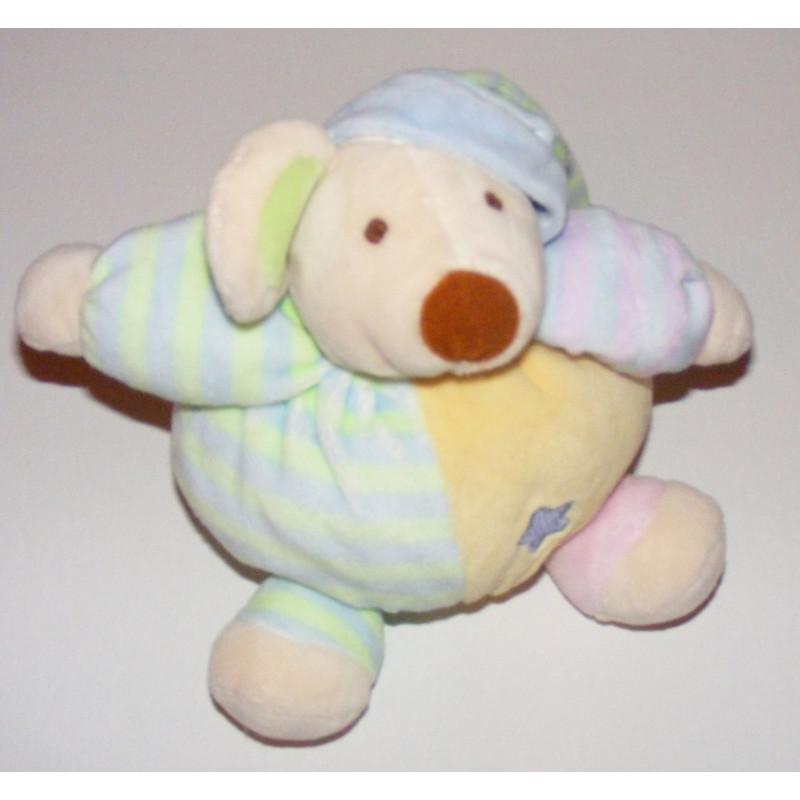 Doudou Ours boule multicolore - Ours avec bonnet