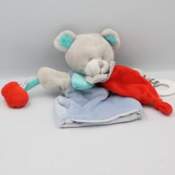 Doudou et compagnie marionnette ours gris bleu rouge Magic
