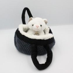 Doudou peluche chat blanc dans son sac panier HISTOIRE D'OURS