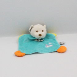 Doudou plat ours bleu bateau oiseau brodés CP INTERNATIONAL