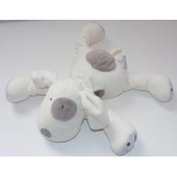 Doudou chien blanc cocard gris OBAIBI