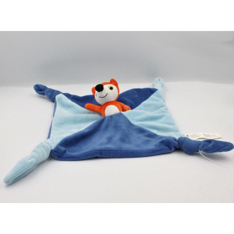 Doudou plat renard bleu orange EDITIONS AUZOU