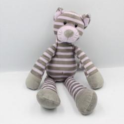 Doudou tigre gris mauve rayé CMI