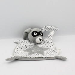 Doudou plat lapin gris blanc étoiles masque IKKS