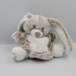 Doudou marionnette lapin marron beige blanc TEX BABY