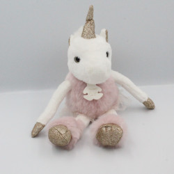 Doudou licorne rose blanc or HISTOIRE D'OURS