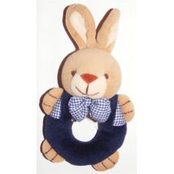 Doudou lapin hochet Vichy bleu