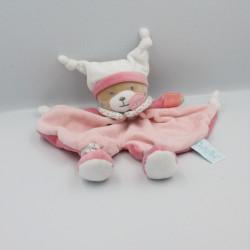 Doudou plat ours rose blanc Brioche BABY NAT