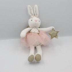 Doudou lapin blanc tutu rose ailes dorées MAISONS DU MONDE