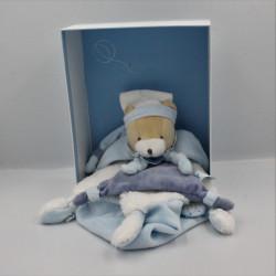 Doudou et compagnie plat ours bleu blanc fourrure Petit Chou avec boite