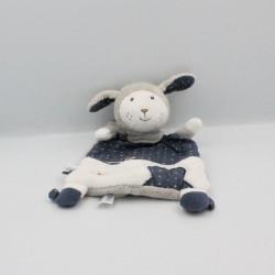 Doudou plat mouton bleu gris blanc étoiles Merlin SAUTHON