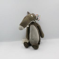 Doudou loup marron gris AUZOU NEUF
