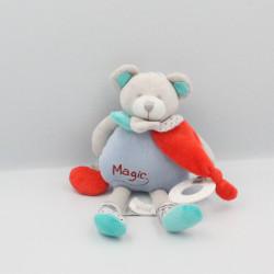 Doudou et compagnie pantin eveil ours gris bleu rouge Magic