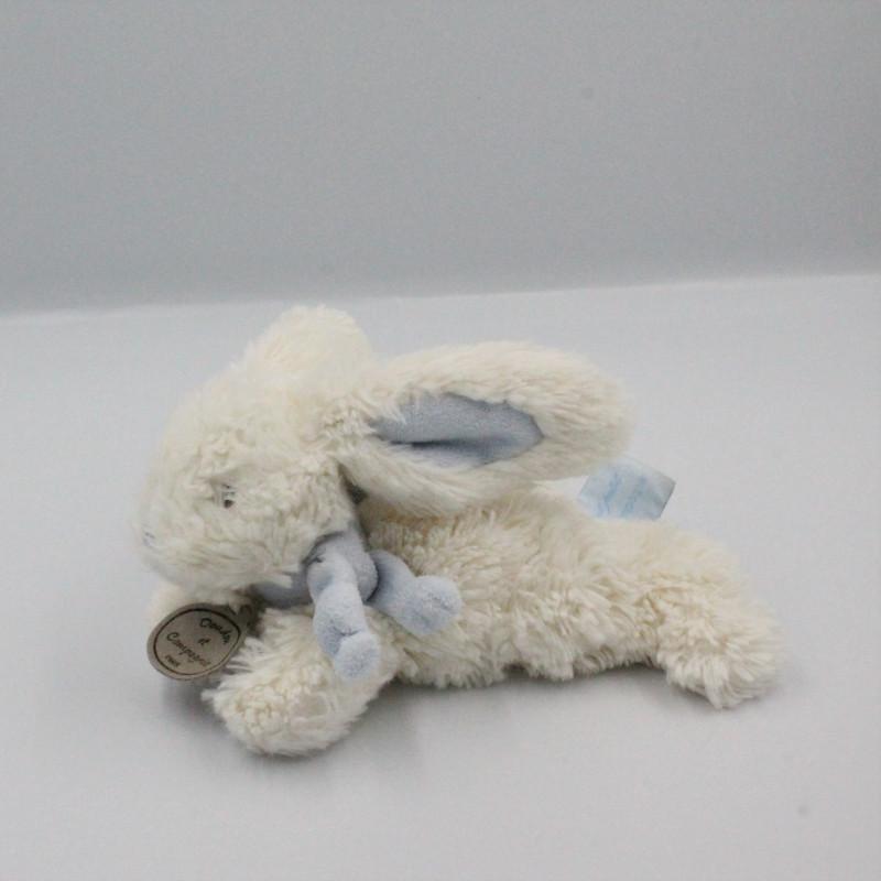 Doudou et compagnie lapin blanc bleu tout doux Bonbon