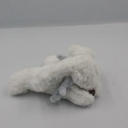 Mini Doudou lapin blanc bleu Bonbon DOUDOU ET COMPAGNIE