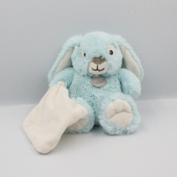 Doudou lapin bleu blanc mouchoir BABY NAT